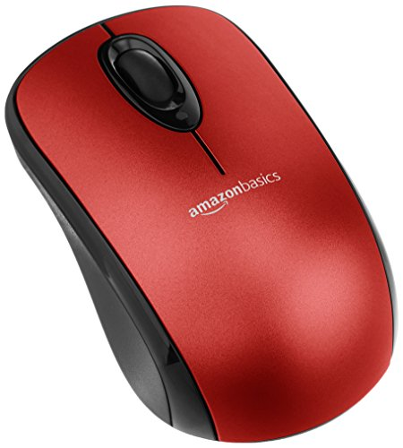 AmazonBasics Wireless Computer Mouse with Nano Receiver - Red
