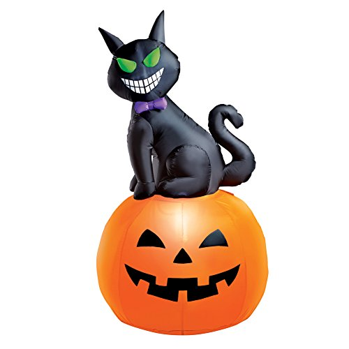 5 Foot Tall Cat Inflatable Halloween Decoration with Pumpkin, Lighted, Lawn Yard Garden Outdoor -