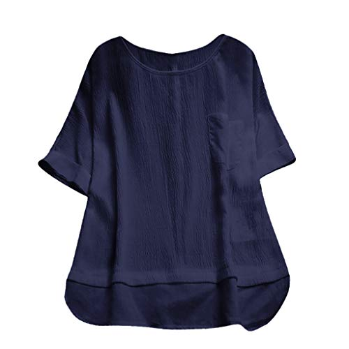 Price comparison product image Rakkiss_ Women Vest Round Neck Solid Color Loose Pullover Tops Plus Size Blouse Navy