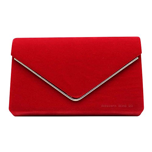 Purse Suede Envelope Bag Handbag Red Lavish Wocharm Velvet Party Shoulder Bag Prom Clutch Wedding Ladies Womens CSqxfwAH