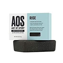 Art of Sport Men's Soap Charcoal Body Scrub Bar | Extra Fresh Rise Scent | Black Soap Bar with Natural Botanicals | Aloe Vera, Jojoba Oil, Argan Oil | Ultra Exfoliation, 6 oz