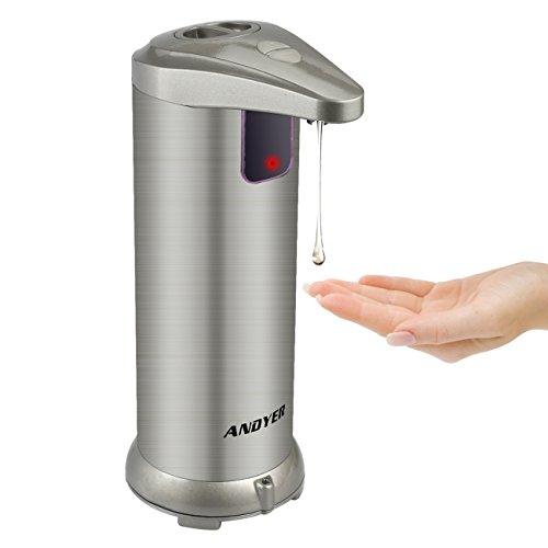 Andyer Soap Dispenser,Hand Free Automatic Soap Dispenser,Stainless Steel IR Infrared Motion Sensor Dish Soap Dispenser for Bathroom Kitchen