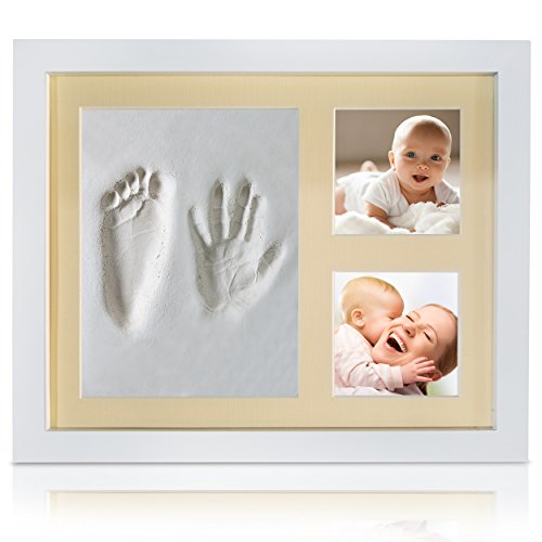Veahma Baby Quality Clay Imprint Kit! White Wood Frame (YELLOW) Mat|Non-Toxic Clay|Hand/Foot Print Kit|Baby Shower Gift for New Born Baby, Boy, Girl, Pet, Parents! NEWEST NO MOLD (Yellow Hand Painted Clay)