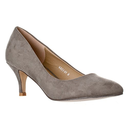 Grey Heels Shoe - Riverberry Women's Katy Pointed, Closed Toe Low, Kitten Heel Pumps, Grey Suede, 8