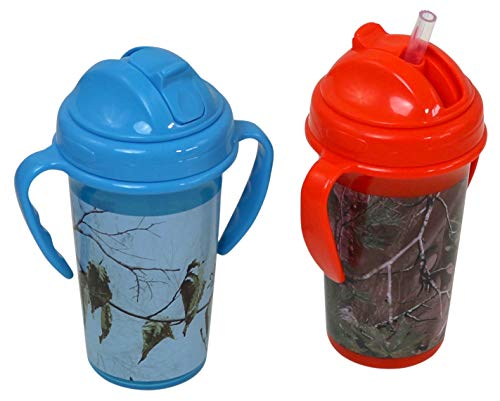 Realtree Straw Top Sippy Cups with Removable Handles, 1 Orange Camo and 1 Blue Camo ()
