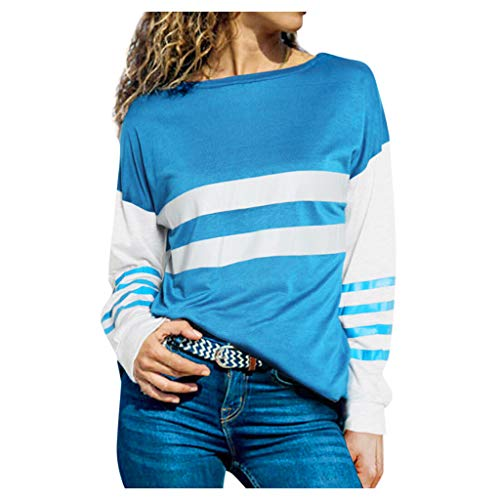 Holzkary Women's Fashion Color Stripe Patchwork Casual Tops Round Neck Long Sleeve Tunic Sweatshirt Pullover(M.Blue)