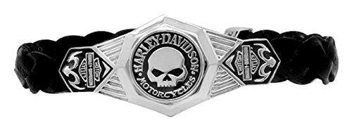 Harley-Davidson Men's Willie G Skull Leather Bracelet w/ Clasp HDB0373 (9) (Harley Men Bracelet)