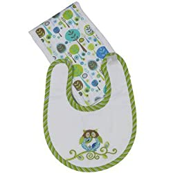 Boy Owl Boxed Bib & Burp Set Maison Chic