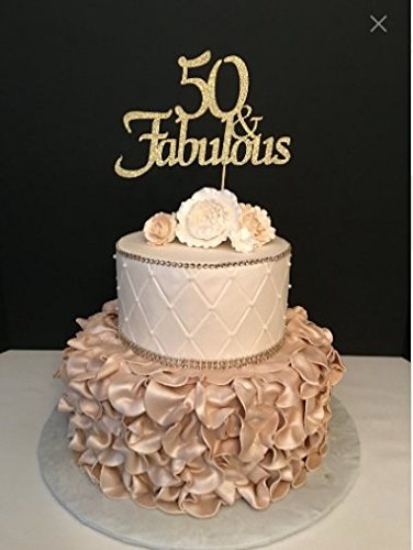 50 /& Fabulous 50th Glitter Cake Topper Party Birthday 20 Colours Custom