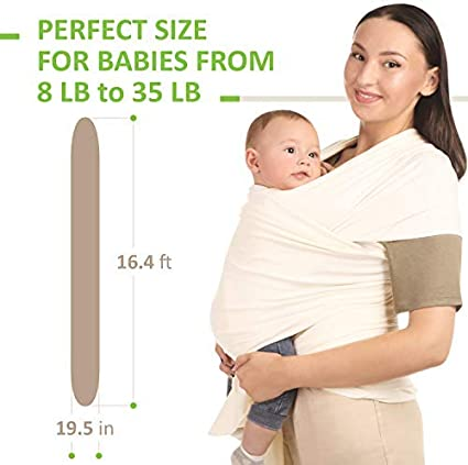 Hip and Kangaroo Holds Toddler Newborn Ivory Front Infant Organic Cotton Baby Wrap Carrier Holder Child Ergonomic Baby Wearing for Men and Women