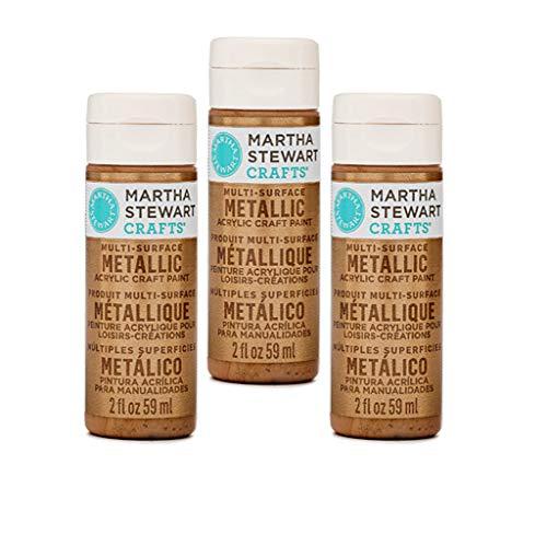 Martha Stewart Bundle - 3 Pack - Multi-Surface Metallic Craft Paint (Rose Gold) ()