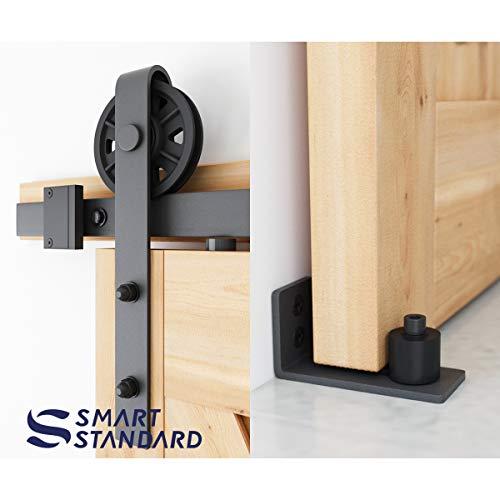 6.6ft Heavy Duty Sliding Barn Door Hardware Kit, 6.6ft Single Rail, Black, (Whole Set Includes 1x Pull Handle Set & 1x Floor Guide & 1x Latch Lock) Fit 36''-40'' Wide DoorPanel (Bigwheel Hanger) by SMARTSTANDARD (Image #2)