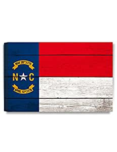 DecorArts - North Carolina State Flag. Giclee Print on 100% Archival Cotton Canvas, Canvas wall art for Wall Decor 24x16""