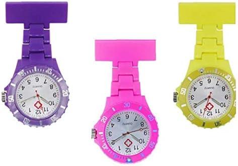 ZYCX123 Frauen-Mädchen-Krankenschwester-Brosche Fob Uhr-Clip-On Fob-Brosche Hanging-Quarz-Taschen-Uhr mit arabischen Zahl Marker Lila