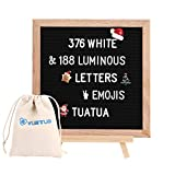 Changable Felt Letter Board with 564 (376 White & 188 luminous )Letters, Numbers & Symbols,10x10 Inches, Changeable Wooden Message Board Sign, Oak Wood Frame,Wall Mount, With Free Canvas Bag