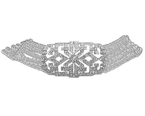Retro Jewelry Estate Vintage (Elegant Art Deco Vintage Choker in White Pearl (Necklace) - Bright White Bridal Jewelry)