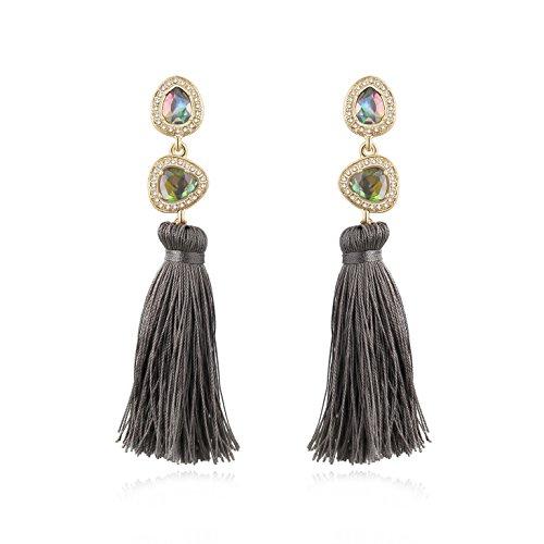 Ellena Rose Elegant Gemstone Tassel Earrings, Soft Grey Long Statement Boho Drop Earrings for Women (Soft ()
