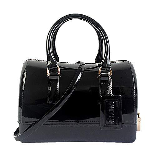 Semi Tracolla Donna Fashion Handbag GODW Borsa Jelly Boston PVC Black1 Spalla A coloured Candy Bag A clear Oq1BIx