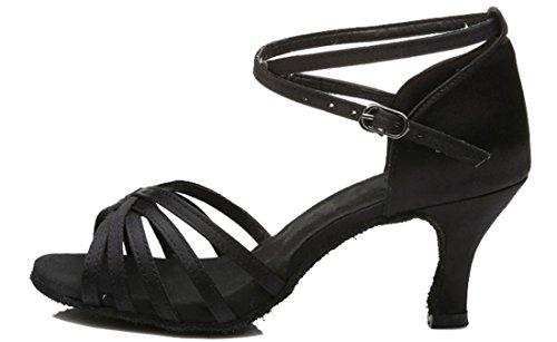 TDA Womens Classic Comfort Flared Heel Satin Salsa Tango Samba Latin Shoes 7.5cm Black VyBJFaFeRM