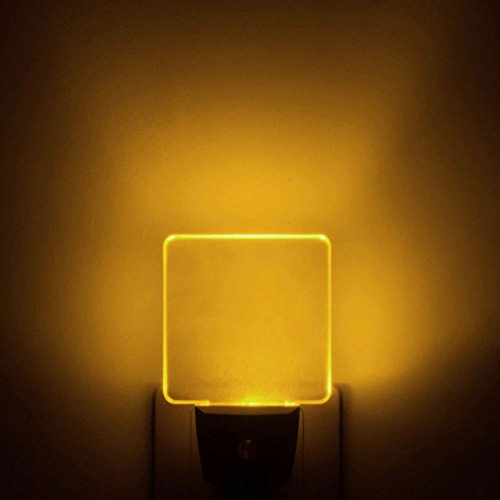 [Pack of 2] Auto ON/OFF Plug In LED Night Light with Dusk to Dawn Sensor (Bright Warm White/Yellow/Amber Glow)