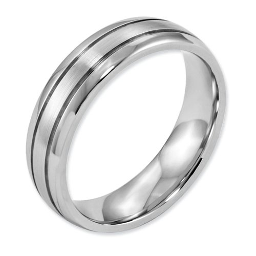 6mm High Polish and Satin Finish Cobalt Chromium Double Grooved Designer Wedding Band - Size 13