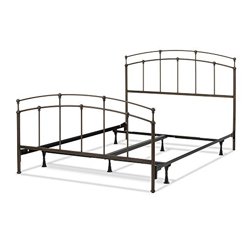 Leggett & Platt Fenton Complete Metal Bed and Steel Support Frame with Gentle Curves, Black Walnut Finish, Queen