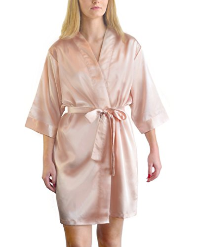 Bella Bride Womens Satin Bridesmaid Robes (Blush, L/XL) (Womens Blush)