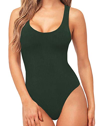 MANGOPOP Women's Scoop Neck Ribbed Racerback Tank Top Bodysuits (Army Green, XX-Large) (Tank Top And Thong)