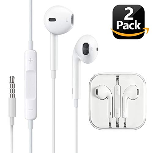Aux Headphones/Earphones/Earbuds, 3.5mm aux Wired Headphones Noise Isolating Earphones Built-in Microphone & Volume Control Compatible iPhone iPod iPad Samsung/Android / MP3 MP4(2 Pack)