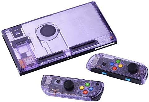 HTBG 8色でNintendスイッチNSコントローラージョイコンゲームコンソールスイッチのシェル用(更新版)交換ハウジングシェルケース (Color : Purple clear shell)