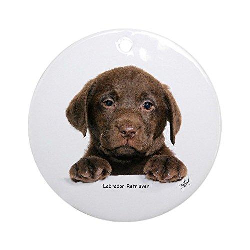 (CafePress Chocolate Labrador Retriever puppy 9Y270D-050 Orna Round Holiday Christmas Ornament)