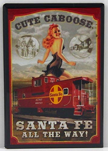 Fe Railroad Pinup Girl Refrigerator Magnet. ()