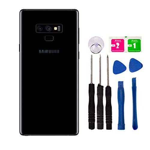 Replacement Rear Housing Battery Back Door Cover for Samsung Galaxy Note 9/ Note9 SM-N960F N9600 Glass Panel Case with Adhesive Preinstalled Repair Part Casing and Tape (with Camera Lens Cover)