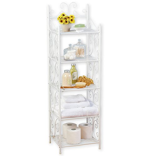Scrollwork Design 5 Tier White Storage Shelf to Instantly Add Storage and Style ()