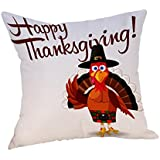 """Elaco Pillow Case Family Thanksgiving Blessings Turkey Traditions Gather Pumpkin Turkey Fall Grateful Harvest Printable Home Decor Throw Pillowcase Pillow Cover 17.7""""x17.7 Inches (C)"""