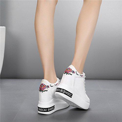 spessore scarpe donna invisibile e scarpe White superficiale nbsp;cm da alta alti casual sneakers scarpe comfort super primavera scarpe inferiore GTVERNH 12 tacchi 5taXwp