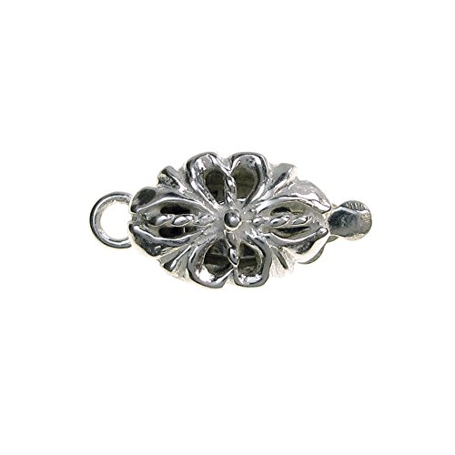 1 pc 925 Sterling Silver Spring Flower 1 Strand Oval Pearl Box Clasp 14mm Connector Switch / Findings