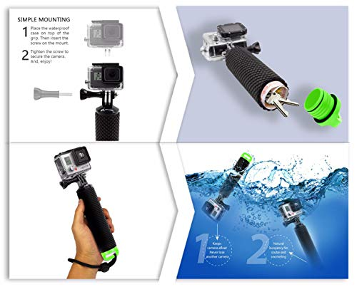 Waterproof Floating Hand Grip Compatible with GoPro Hero 8 7 6 5 4 3+ 2 1 Session Black Silver Camera Handler & Handle Mount Accessories Kit & Water for Water Sport and Action Cameras (Green)