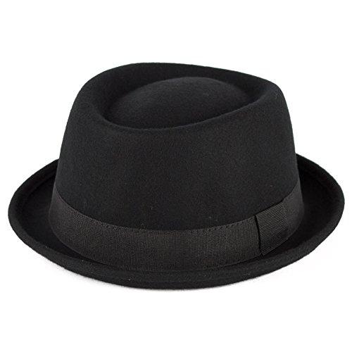 Men's Ladies Fine Felt Wool Pork Pie Hat Plain - Black (61/XL)