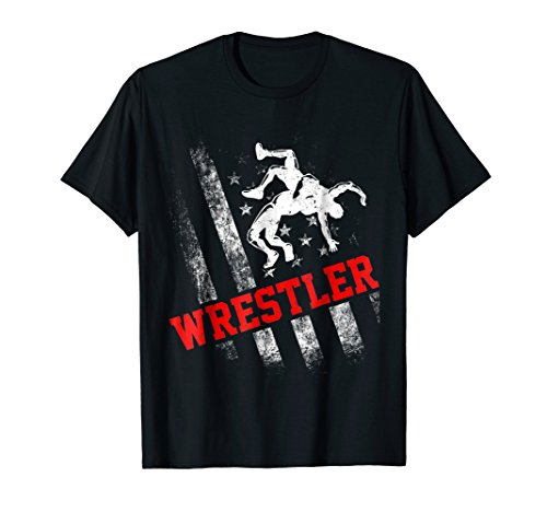 Wrestling T-shirt Distressed American Flag Gift for Wrestler