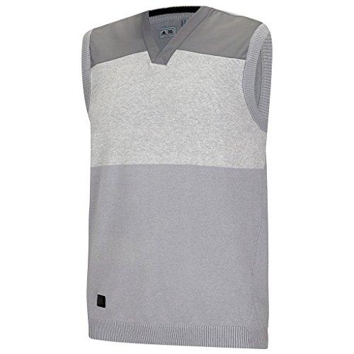 V-neck Vest Performance Sweater (Adidas 2015 Sport Classic V-Neck Sweater Vest Tank Top Mens Slipover Mid Grey Small)