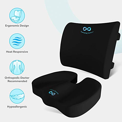 Memory Foam Seat Cushion/Back Cushion Combo, Gel Infused & Ventilated, Orthopedic Design. Perfect for Office Chair, Relieves Back, Coccyx, Sciatica, Tailbone, Lumbar Pain, by Everlasting Comfort by Everlasting Comfort (Image #3)