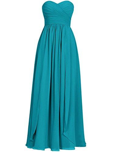 Cdress Long Bridesmaid Dresses Chiffon Prom Evening Dress Sweetheart Wedding Party Gowns Jade US 12
