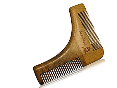 Beard Shaping Tool by Striking Viking - Anti-Static Wooden Facial Hair Template with Fine and Coarse Wood Bristles for a Perfect Look