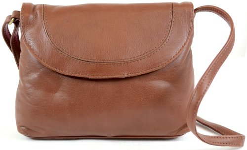 Ladies Soft Premium Leather Shoulder / Cross Body Bag ( Tan )