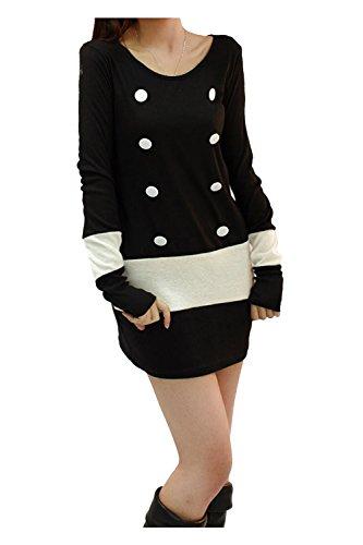 Mini Robe Noire - SODIAL(R) femmes Pull a manches longues tricote deux rangs de boutons pour Cocktail Mini Robe Noire