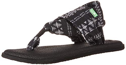 (Sanuk Women's Yoga Sling 2 Prints Flat Sandal,black/natural koa tribal,5 M US)