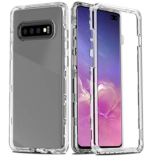 AMENQ Crystal Clear Case for Samsung Galaxy S10+ Plus, Three Layer Ultra Hybrid Shockproof TPU Bumper and Rugged Clear Hard Protective Armor Phone Cover for Galaxy S10+ Plus 6.4 inch (2019), Clear