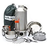 Ultimate 'Base Camp' Kelly Kettle Kit - VALUE DEAL (Includes 1.6 ltr Stainless Steel 'Base Camp' Kettle + Cook Set + Hobo Camping Stove + Camp Cups (2pcs) + Plates (2pcs) + Pot Support + Carry Bag + Green Whistle which replaces the Orange Stopper