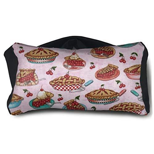 ROCKSKY Cherry Pies Pink Eye Mask Pillow Travel Neck Pillow with Eye Mask for Sleep Trip Meditation, 2 in 1 Travel Pillow and Eye Mask for Kids Teens Girls Women